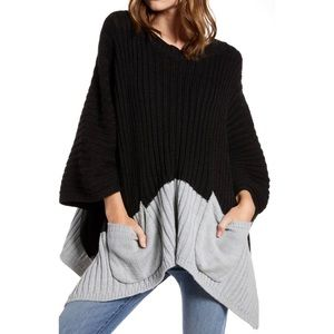 Host Pick! Treasure & Bond Rib Knit Poncho Sweater